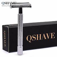 Qshave RD 237 - классический станок-бабочка для бритья с длинной ручкой, глянцевый