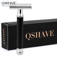 Qshave RD 265 - классический массивный станок для бритья с черной ручкой