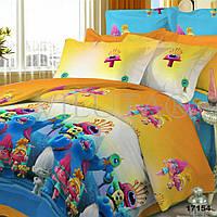 Детский полуторный постельный комплект белья Тролли