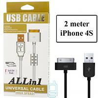 USB кабель ALLin1 iPhone 4S с ферритом 2m черный