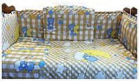 """Защитные бортики в детскую кроватку из 4 частей на завязочках и постельный комплект """"Ведмежатко"""""""