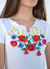Вышитая футболка женская Радуга