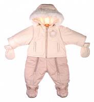 Зимний комбинезон-трансформер   для девочки на флисовой подкладке молочно-кремовый, Garden baby