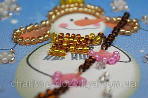 Набор для вышивки бисером магнит Снеговик-1, фото 2