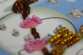 Набор для вышивки бисером магнит Снеговик-1, фото 3