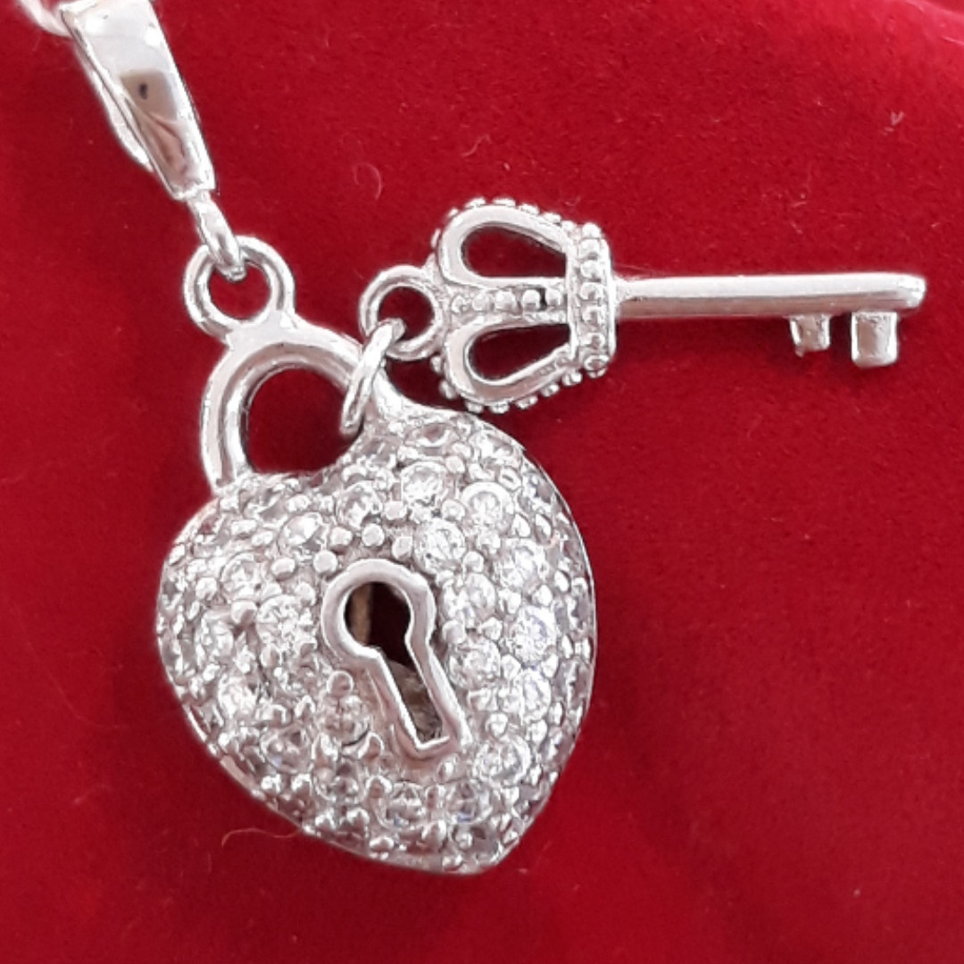 Серебряная подвеска Сердце и Ключик - Кулон Сердце и Ключик серебро 925