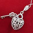 Серебряная подвеска Сердце и Ключик - Кулон Сердце и Ключик серебро 925, фото 2