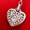 Срібний кулон Серце рожевий родаж, фото 2