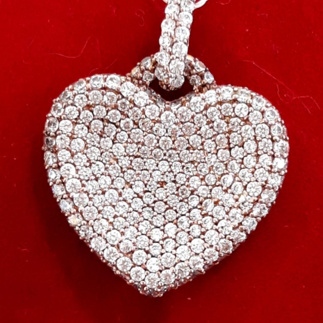 Серебряный кулон Сердце розовый родаж