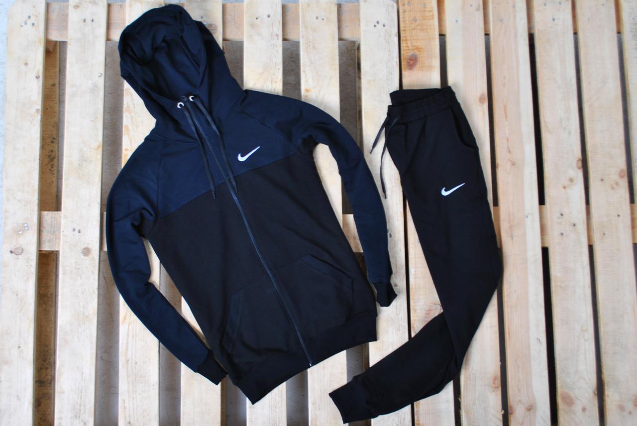 27249a65f715 Мужской Спортивный Костюм В Стиле Nike Черный на Молнии  Костюм Nike  Капюшон Черный Синие Плечи — в Категории