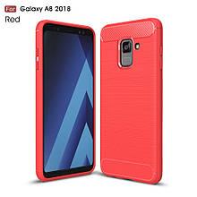 Чехол накладка TPU Fiber Carbon для Samsung A8 2018 красный