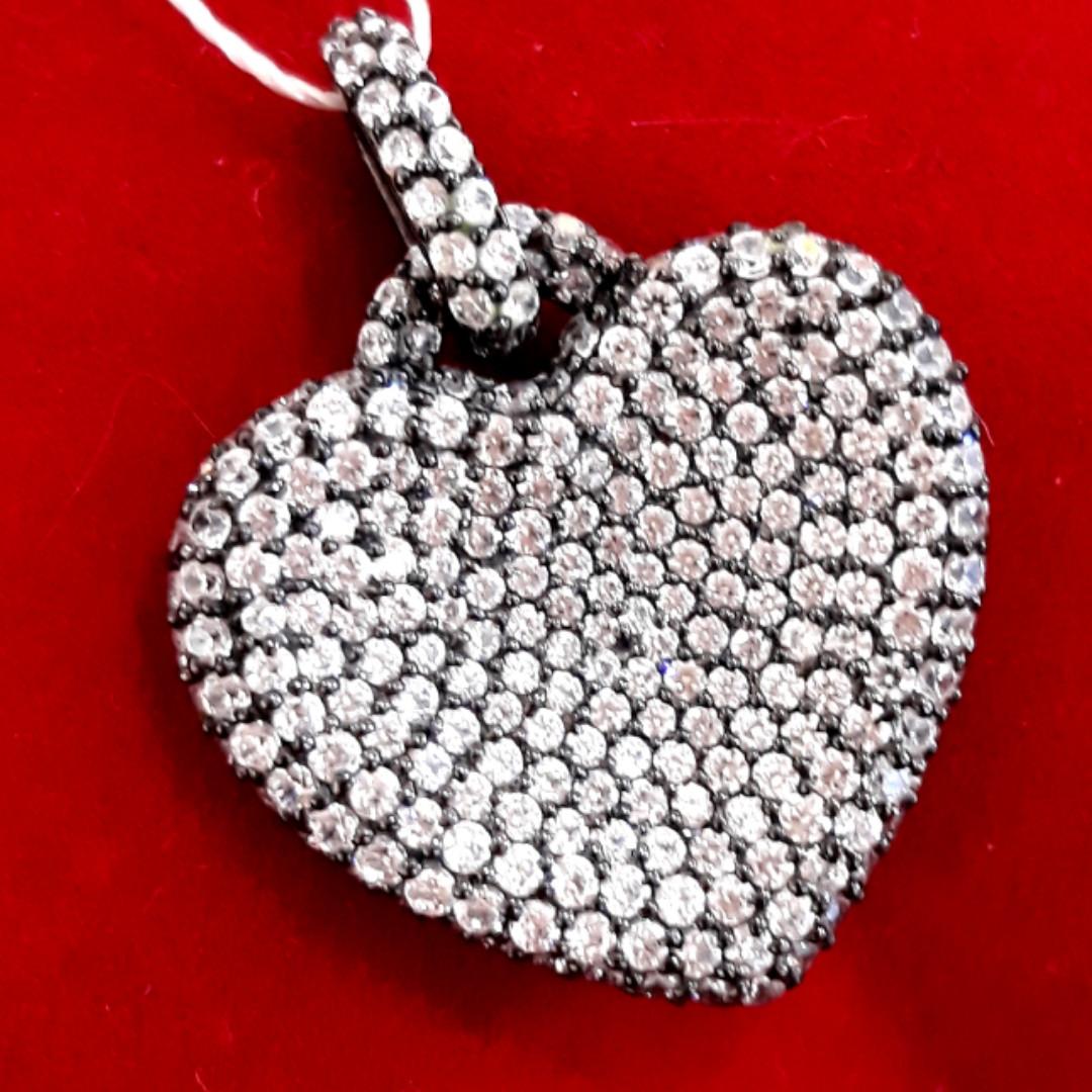 Серебряный кулон Сердце чёрный - Кулон Сердце серебро черный родий