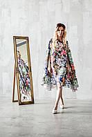 Цветочные платье кейп из шелка