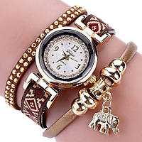 Женские часы браслет с коричневым ремешком