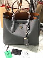 Модная женская сумка PRADA cuir double bag серая