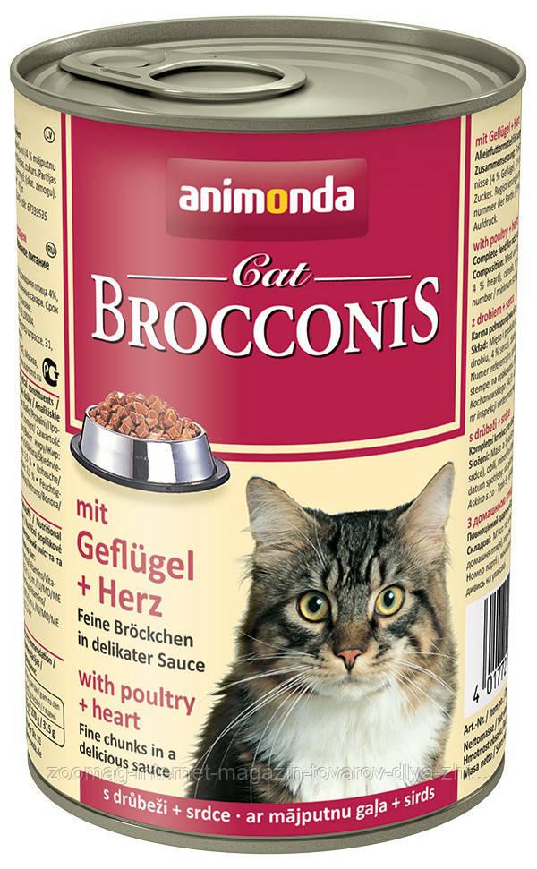 """Консервы Brocconis Cat """"С птицей и сердцем"""" 7,5/4 (для взрослых кошек), 400г"""