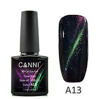 Гель-лак CANNI 3D Cat Eye №A13 (фиолетовый-бледный зеленый, магнитный), 7,3 мл