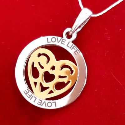 Срібний кулон Серце з позолотою - Кулон Серце срібло з позолотою