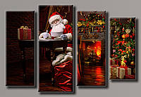 Картина модульная HolstArt Санта-Клаус 2 новогодняя 60*89,5см 4 модуля арт.HAF-132