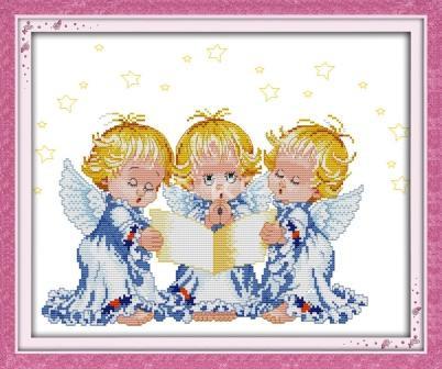 Набор для вышивания крестом с печатью на ткани NKF Молящиеся ангелочки 11ст R380