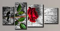 Картина модульная HolstArt Красная роза 3 55*111,5см 4 модуля арт.HAF-113