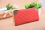 Клатч жіночий гаманець лаковий (персиковий), фото 2