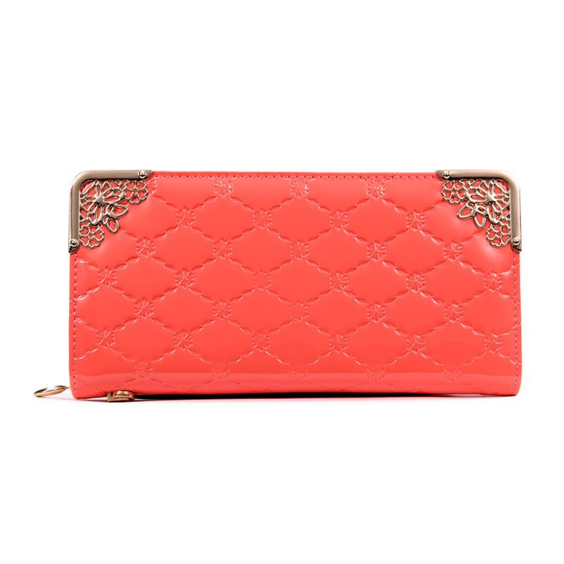 Клатч жіночий гаманець лаковий (персиковий)