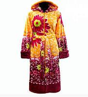 Махровый халат на поясе теплый женский домашний зимний велсофт мягкий с капюшоном Украина