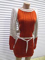 Теплое комбинированное платье-туника , р.44-48