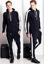 Мужской спортивный костюм, двунить петля, р-р S; M; L; XL; XXL (чёрный)