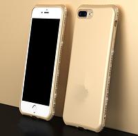 Золотой Мягкий чехол с камнями Сваровски для iPhone 7+ 8+