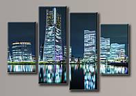 Картина модульная HolstArt Ночной город 2 100*159см 4 модуля арт.HAF-096