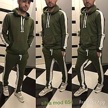 Мужской спортивный костюм, двунить петля, р-р S; M; L; XL; XXL (хаки)