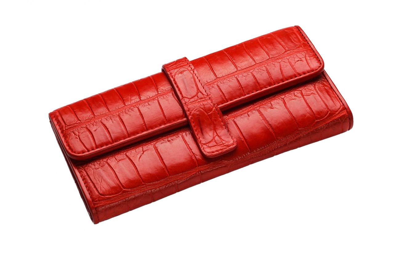 Кошелек из кожи крокодила женский  Ekzotic Leather Красный (cw24)