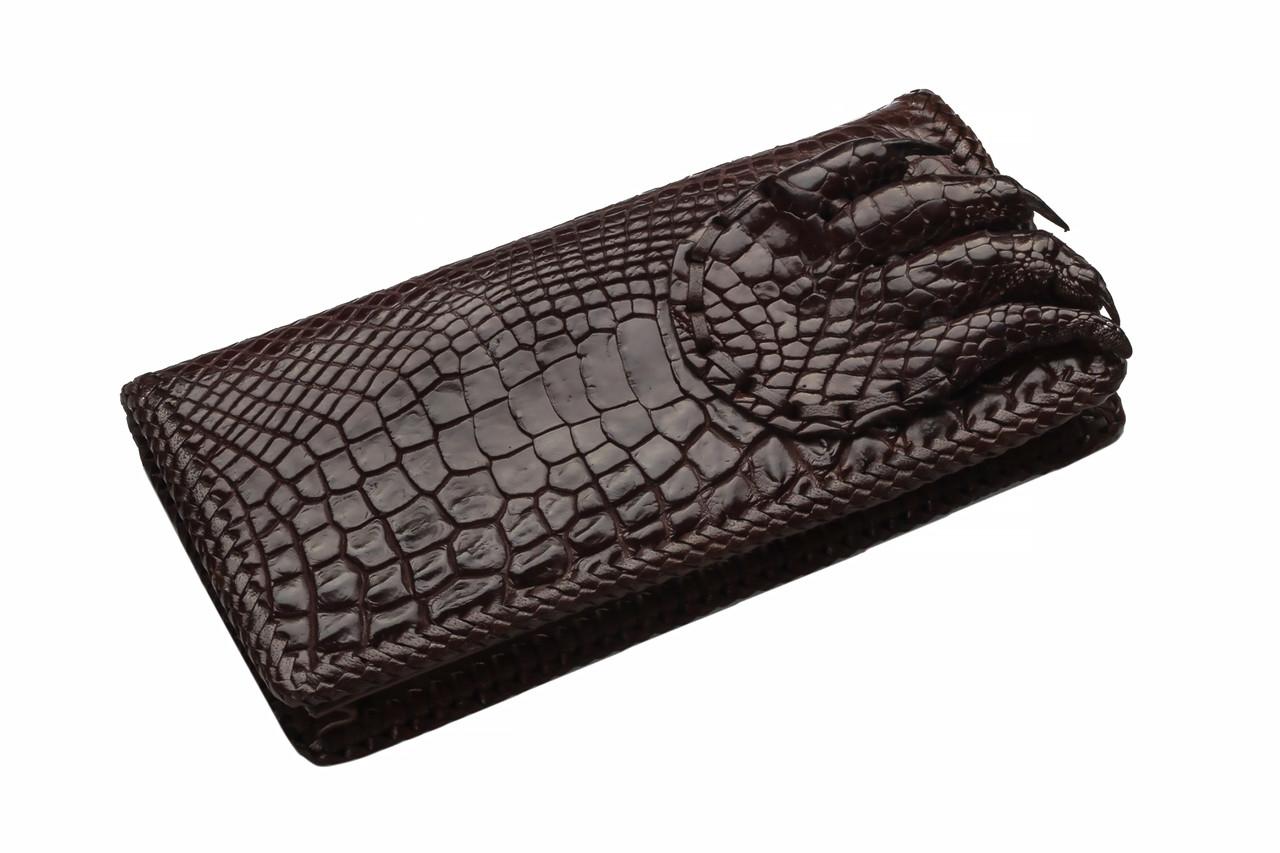 Портмоне из кожи крокодила лапа Коричневый (cw27)
