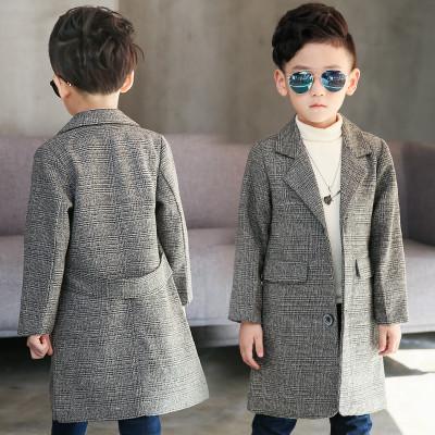 Детское пальто для мальчика серое Классика