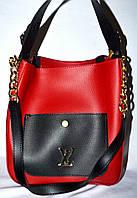 """Сумка женская, стильная """"Louis Vuitton"""", Луи Витон, с косметичкой, 2 в 1, 00138"""