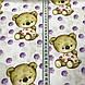 Хлопковая ткань польская бежевые мишки и фиолетовый горох №191, фото 2