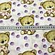 Хлопковая ткань польская бежевые мишки и фиолетовый горох №191, фото 3