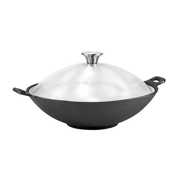 Сковорода WOK с крышкой Fissman 30 см (Чугун)