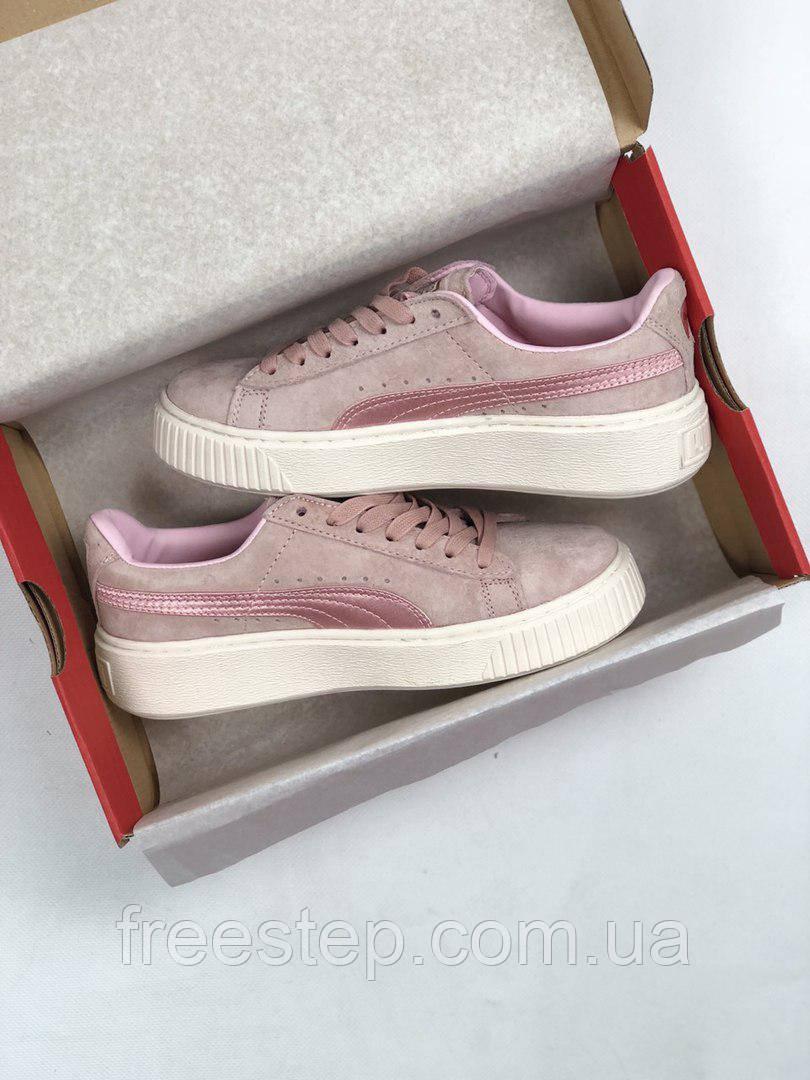1bcbf60724b3 Женские кроссовки в стиле PUMA Rihanna Suede Creeper розовые замша -  Интернет-магазин