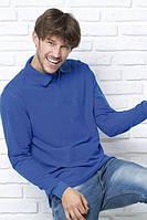 Футболка - поло мужская с длинными рукавами, JHK T-shirt , Испания, однотонная, 100% хлопок