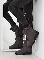 Серые женские ботинки утепленные F176P 37