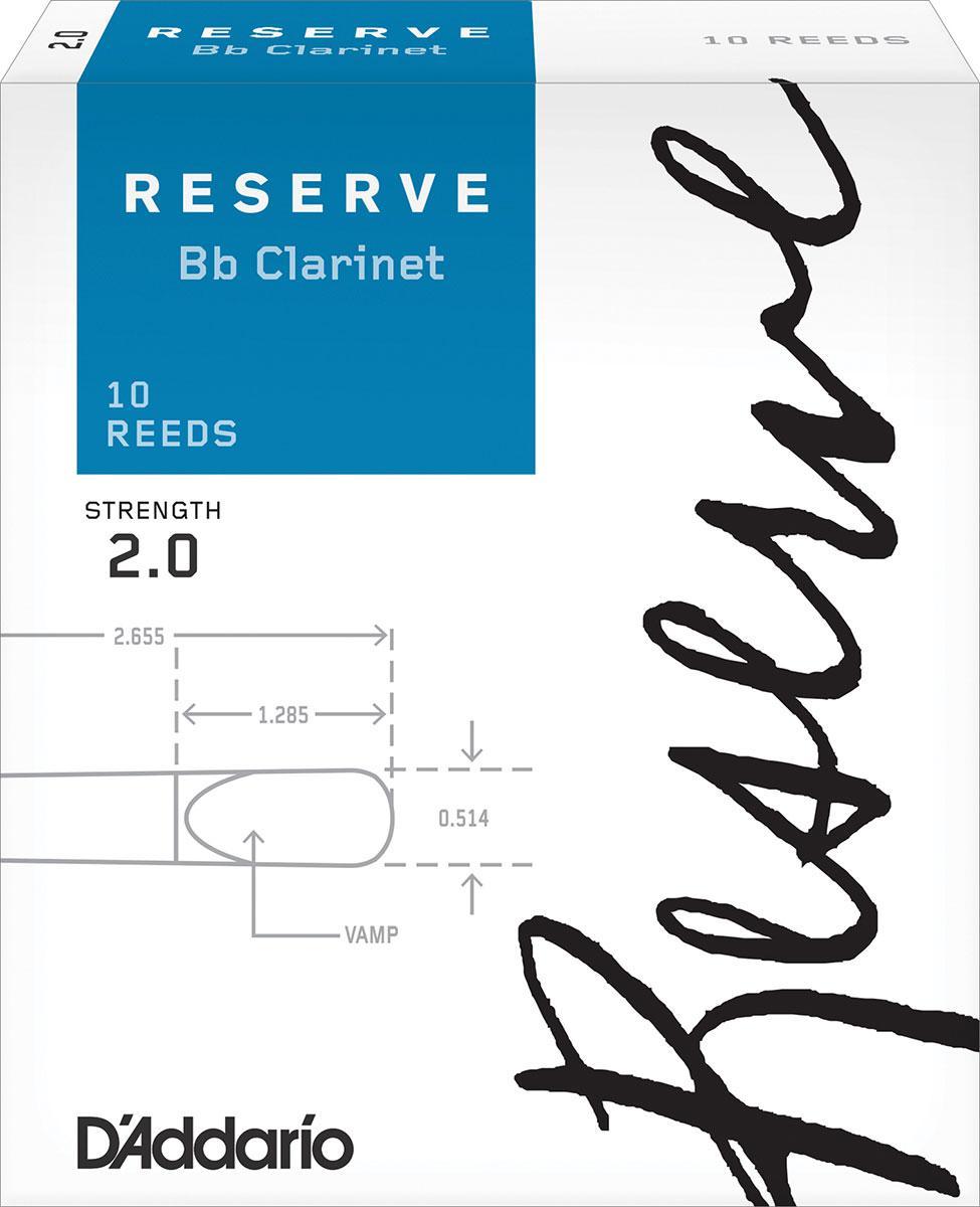 Трости для кларнета Bb D`ADDARIO DCR1020 Reserve Bb Clarinet #2.0 - 10 Box