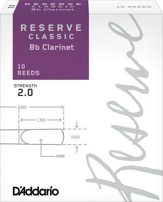 Трости для кларнета Bb D`ADDARIO DCT1020 Reserve Classic Bb Clarinet #2.0 - 10 Box