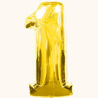 Шар цифра 1. Цвет: золото. Размер: 80см. Материал:фольга.