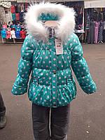 Зимний детский комбинезон для девочек с цветным принтом