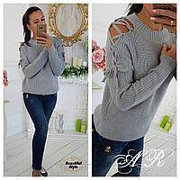 Женский вязаный свитер со шнуровкой, фото 1