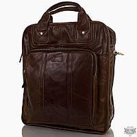 Мужская кожаная стильная коричневая сумка-рюкзак ETERNO