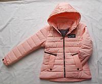 Куртка детская на девочку весна/осень с капюшоном (10-15 лет) (цвет розовый) оптом со склада